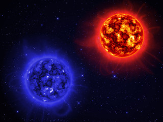 Two giant sun in space.