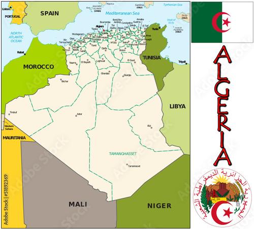 Algeria Africa  emblem map symbol administrative divisions