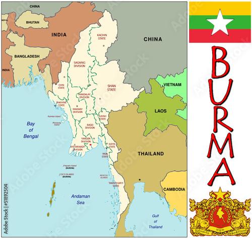 Burma Asia Asia   emblem map symbol administrative divisions