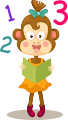 illustration of monkey reading a book