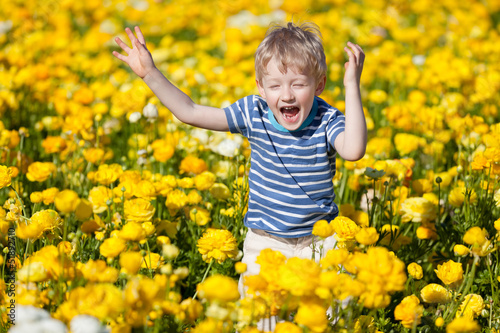 kid at the flower field