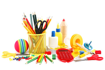 Office and school accessories isolated on a white background.