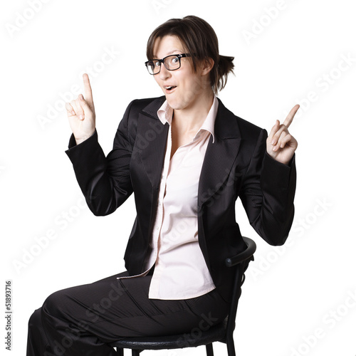 Emotional business woman. Isolated over white background