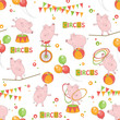 Baby colorful seamless pattern with little cute pig