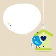 Blue Bird House Gift Speech Bubble Beige Dots