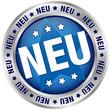 """Button """"NEU"""" blau/silber rund"""