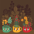 Cute vases with flowers - cat faces. Vector illustration.