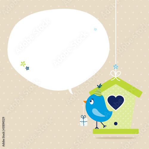 Blue Bird House Gift Speech Bubble Beige Dots
