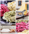 Collage of assorted fresh pasta making related images