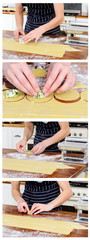 Collage of fresh ravioli making