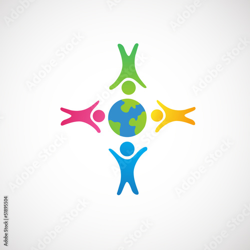 people around earth ,love on the earth icon vector