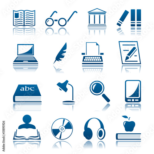 Book writing and reading icon set