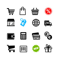 16 icons set. Shopping pictograms, Euro