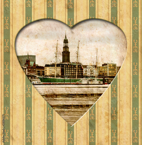 canvas print picture Vintage Heart - Hamburg