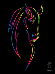 Vector image of an horse on black background