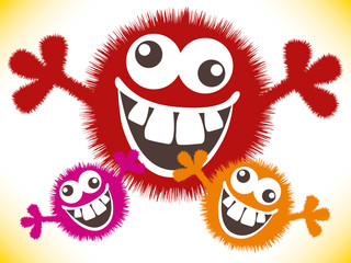 Crazy furry funny face cartoon design.