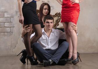 Three women and one guy