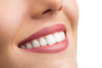Macro close up of perfect teeth.