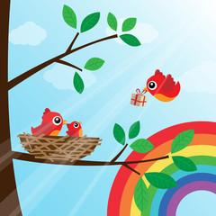Christmas birds family with rainbow