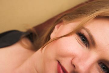 Blonde woman in lingerie