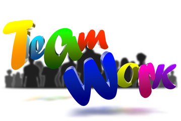 Teamwork 3D icon have people a black in the background