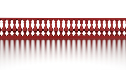 Classic red banister with reflection