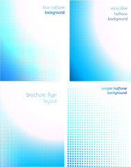 blue halftone background set