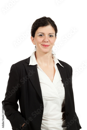 nice woman with black jacket, portrait in studio