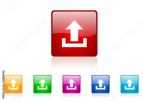 upload vector glossy web icon set