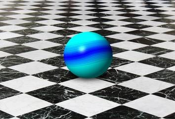 sfera su pavimento a scacchi