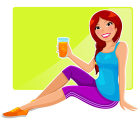 sportive girl drinking orange juice