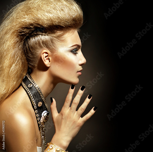 Sticker Fashion Rocker Style Model Girl Portrait. Hairstyle