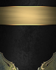 Black background with yellow corners with gold plate