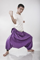 martial arts: young male wearing kendo pants