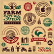 Farm fresh labels. Farming icons. Farmer.