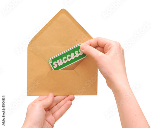 woman hand holding envelope mail with message of success
