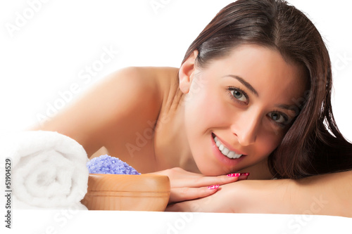 pretty girl in the spa salon. isolated