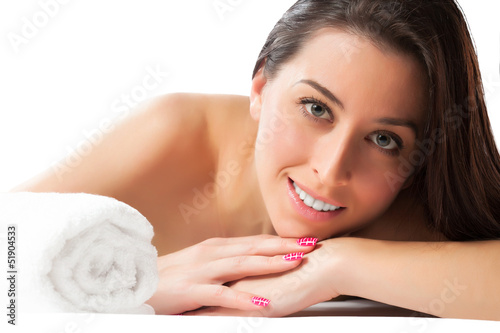 beautiful woman in the spa salon. isolated