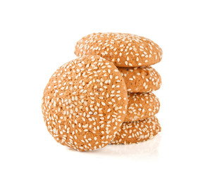 Ovyasnoye cookies with sesame on the white isolated background