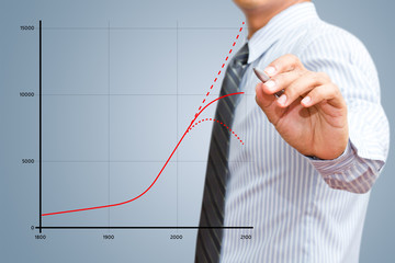 Businessman drawing world population of growth chart