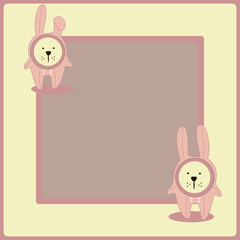 Cute vector background. Frame with bunny.