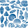 Sea shells and rocks seamless pattern