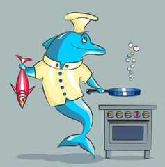 The dolphin is the cook