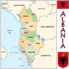 Albania Europe  emblem map symbol administrative divisions