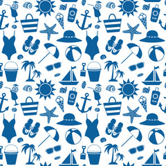 Seamless pattern with sea symbols