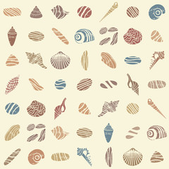 Shells and rocks seamless pattern