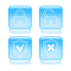 Glassy protection icons. Vector illustration