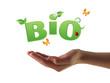 Hand holding Bio word
