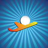 Vector graphic- airliner or jet icon flying on a bright day
