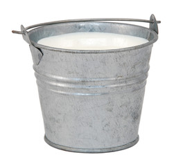 Milk in a miniature metal bucket